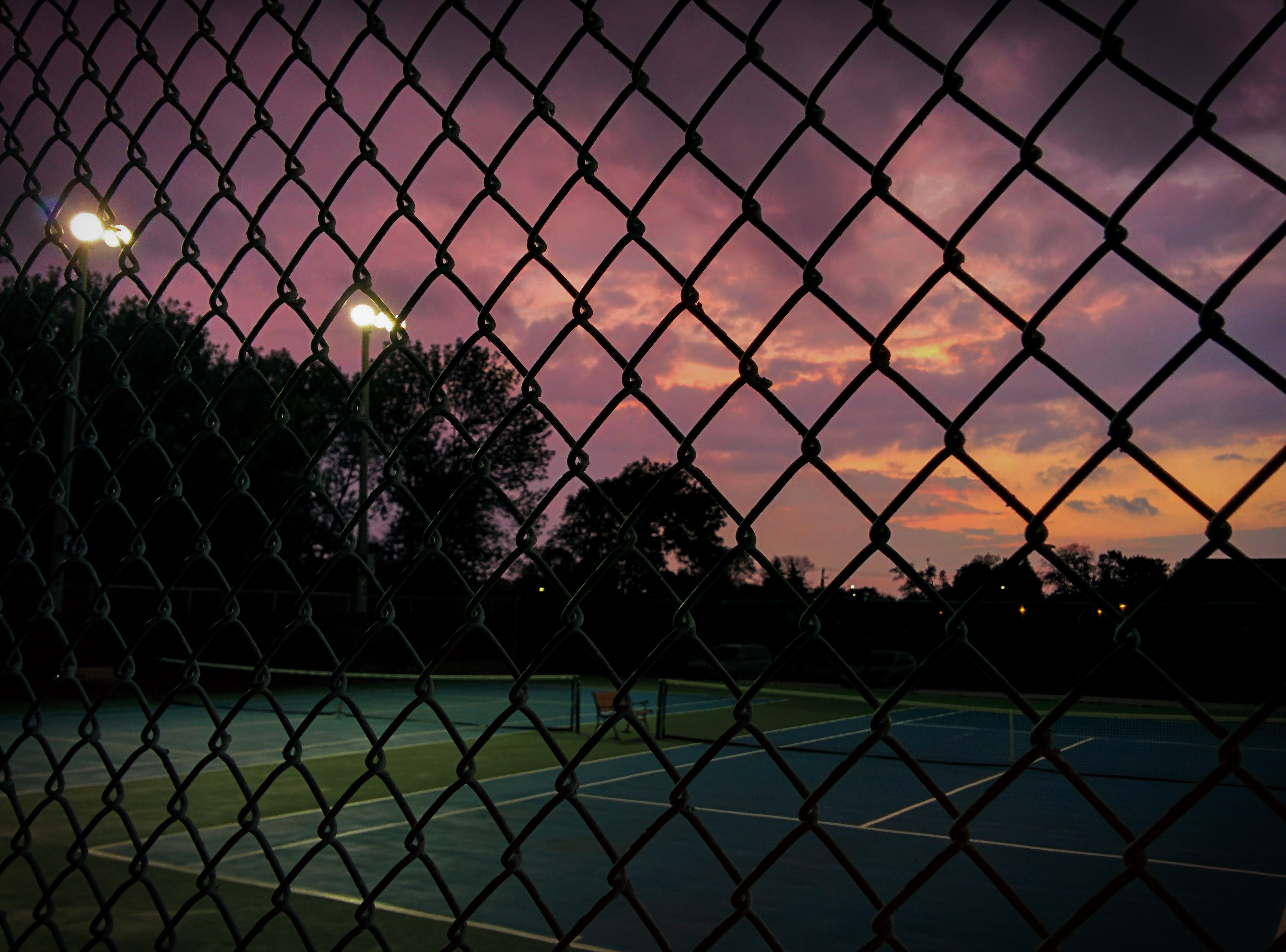 Sunsets over the tennis court